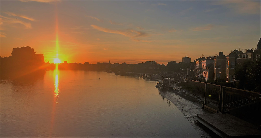Sunset along the Thames in Hammersmith neighborhood in London