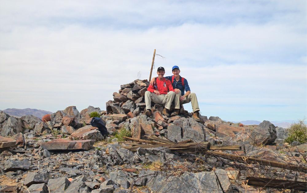Sitting on summit of Pinto Mountain in Joshua Tree National Park
