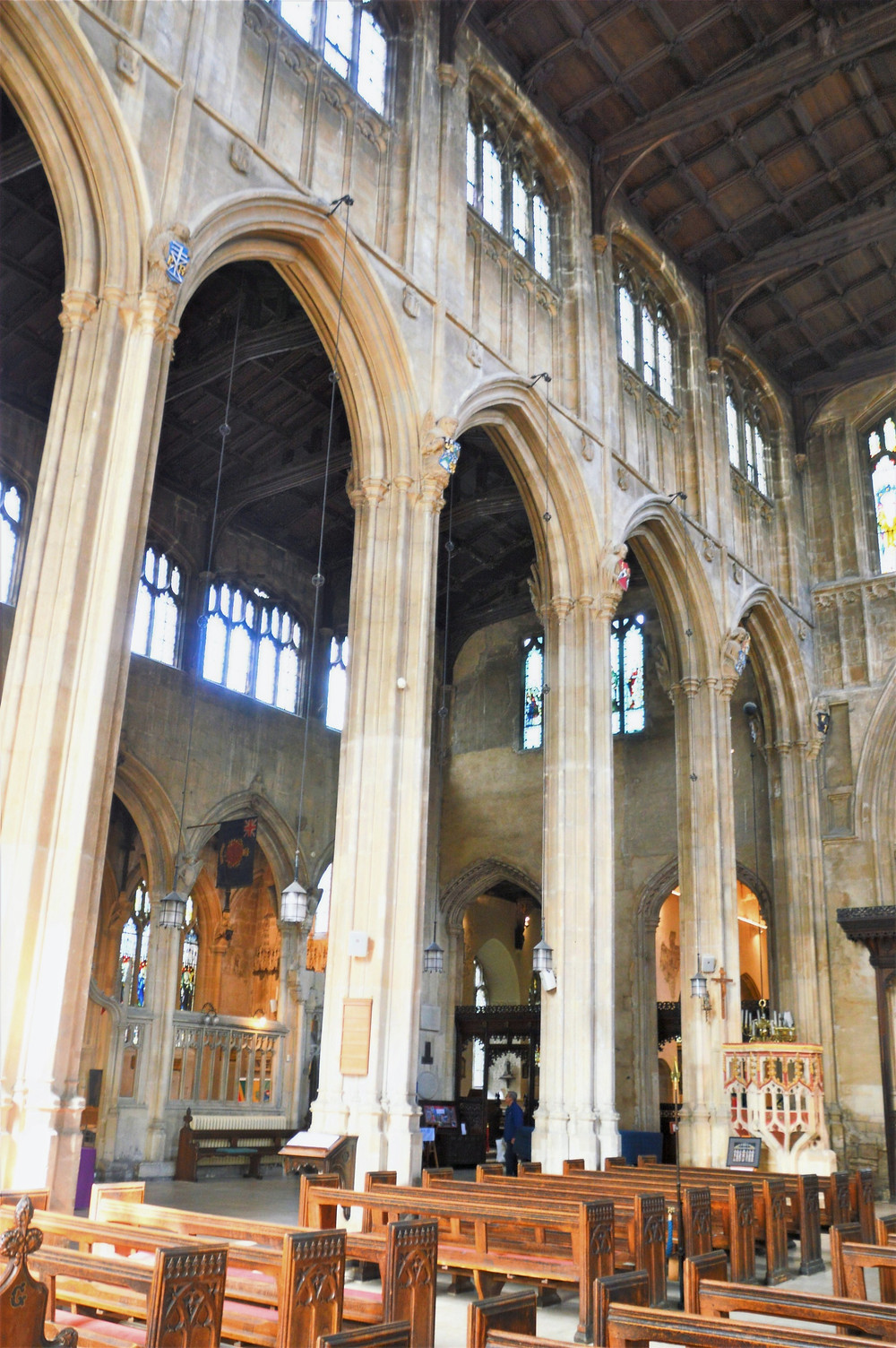 The nave of Cathedral of the Cotswolds, St. John the Baptist in Cirencester of the Cotswolds