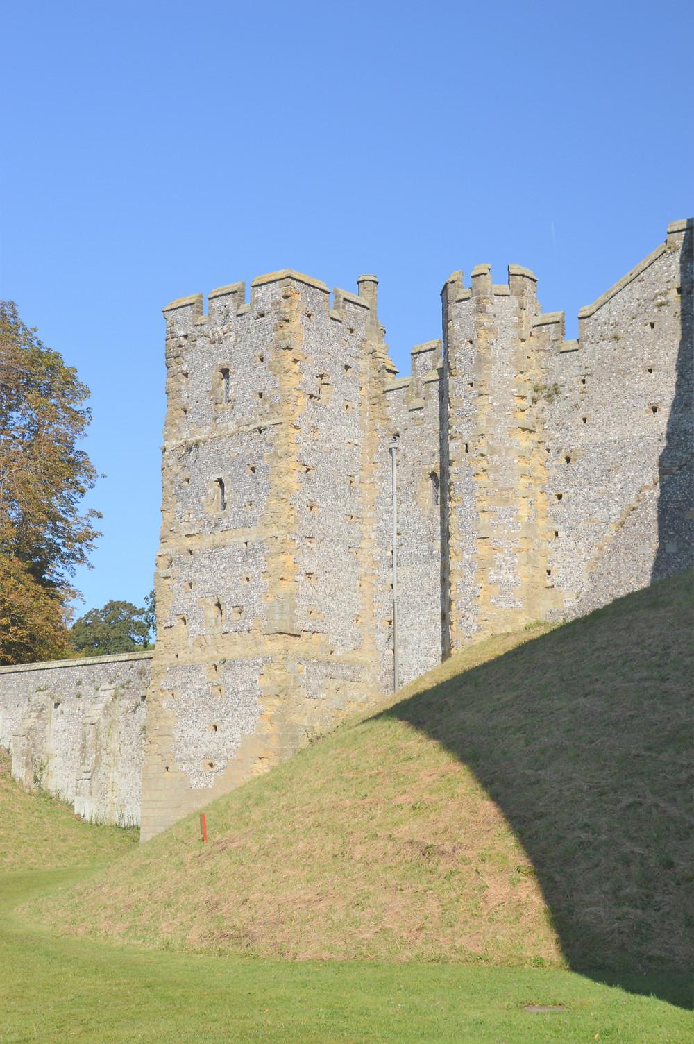 Imposing curtain walls surrounding Arundel Castle