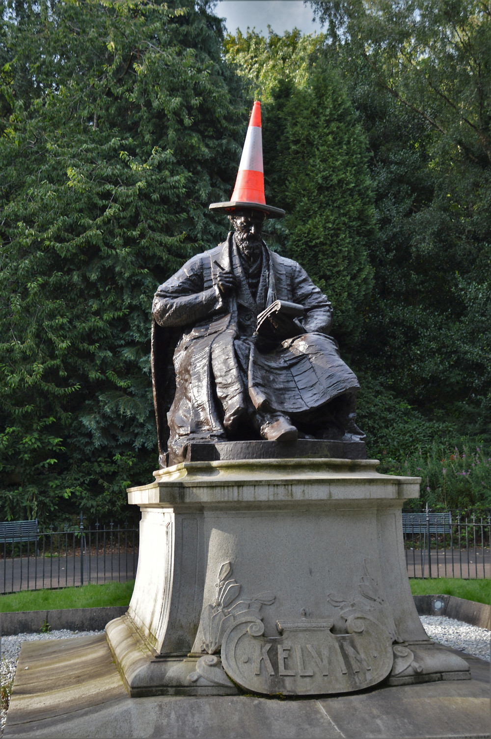 The statue of Lord Kelvin with traffic cone on head in Kelvingrove Park Glasgow