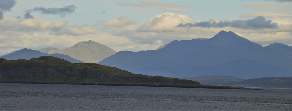 Buachaille Etive Mor and Buachaille Etive Beag from the CalMac ferry to Oban