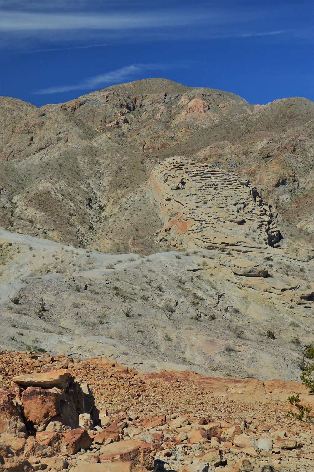 Eroded hills and mountains along the Calcite Mine Loop at Anza-Borrego State Park