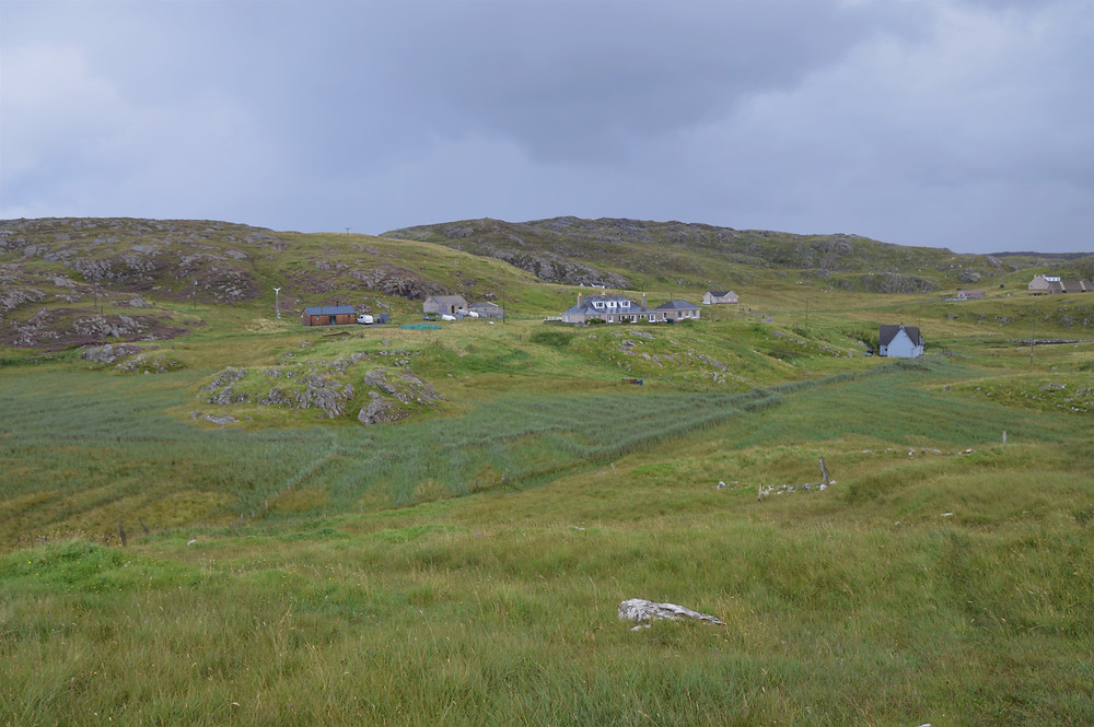 Hiking on the outskirts of Tobson, the oldest settlement on Bernera. Great Bernera Loop hike on the NW coast of Isle of Lewis, Outer Hebrides