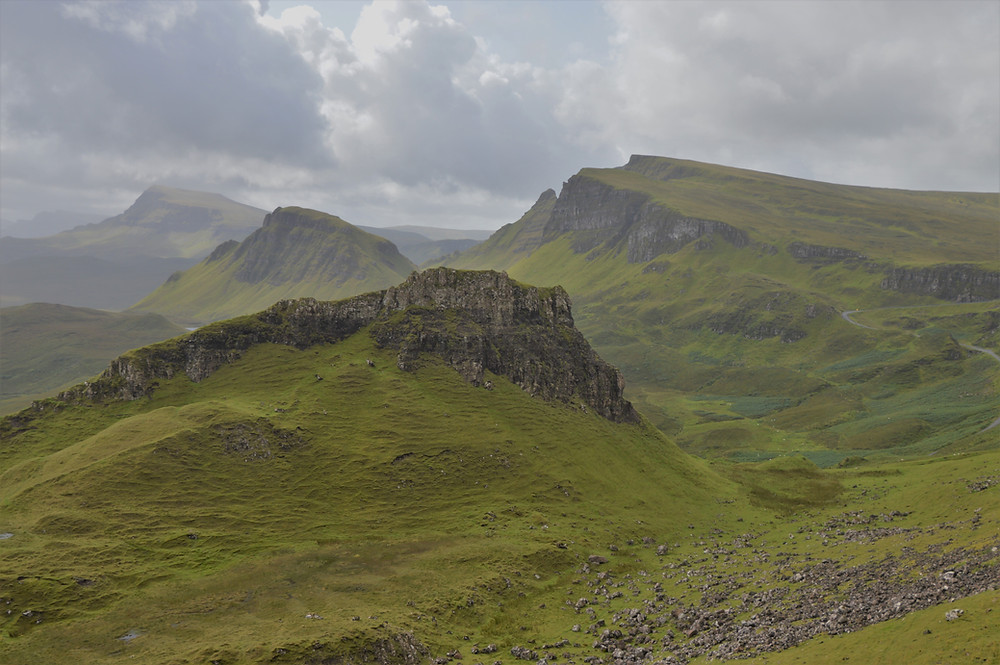 Massive landslip and ice age glaciers created the unique geologic setting of Quiraing on the Isle of Skye