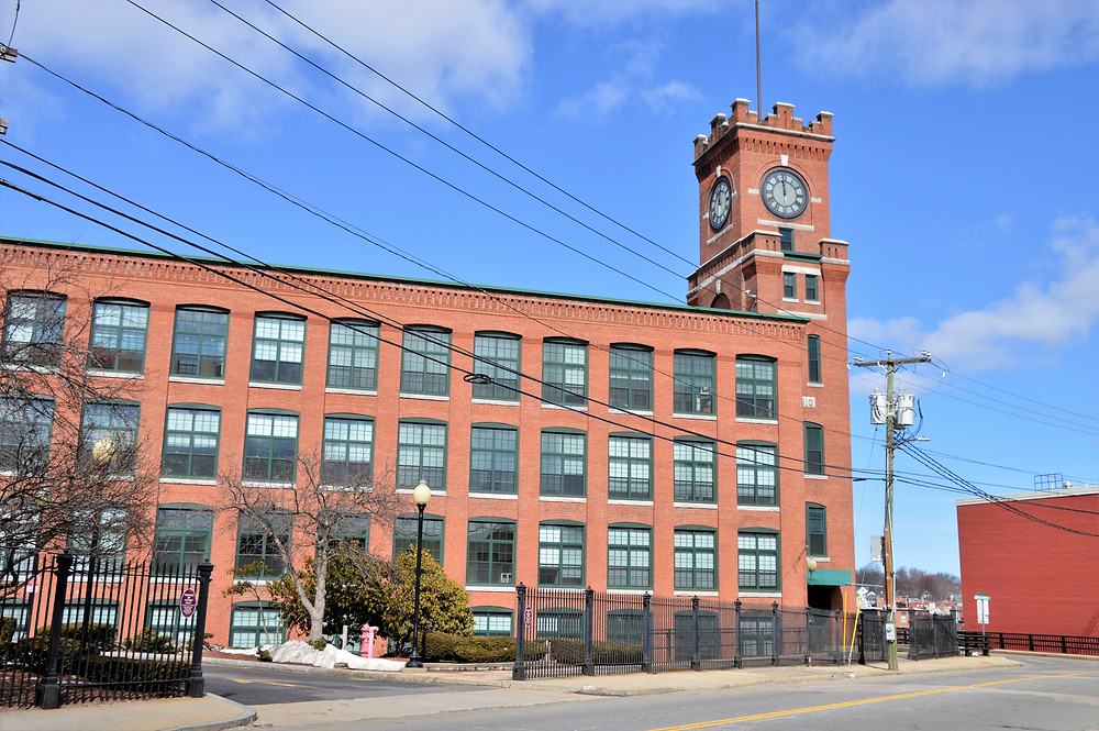 Nashua Manufacturing Co. Mill Building 7 built in 1904 with the clock tower added in 1913