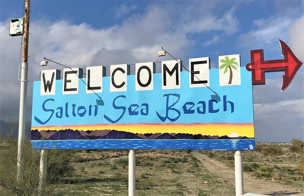 Welcome to Salton Sea Beach sign along highway