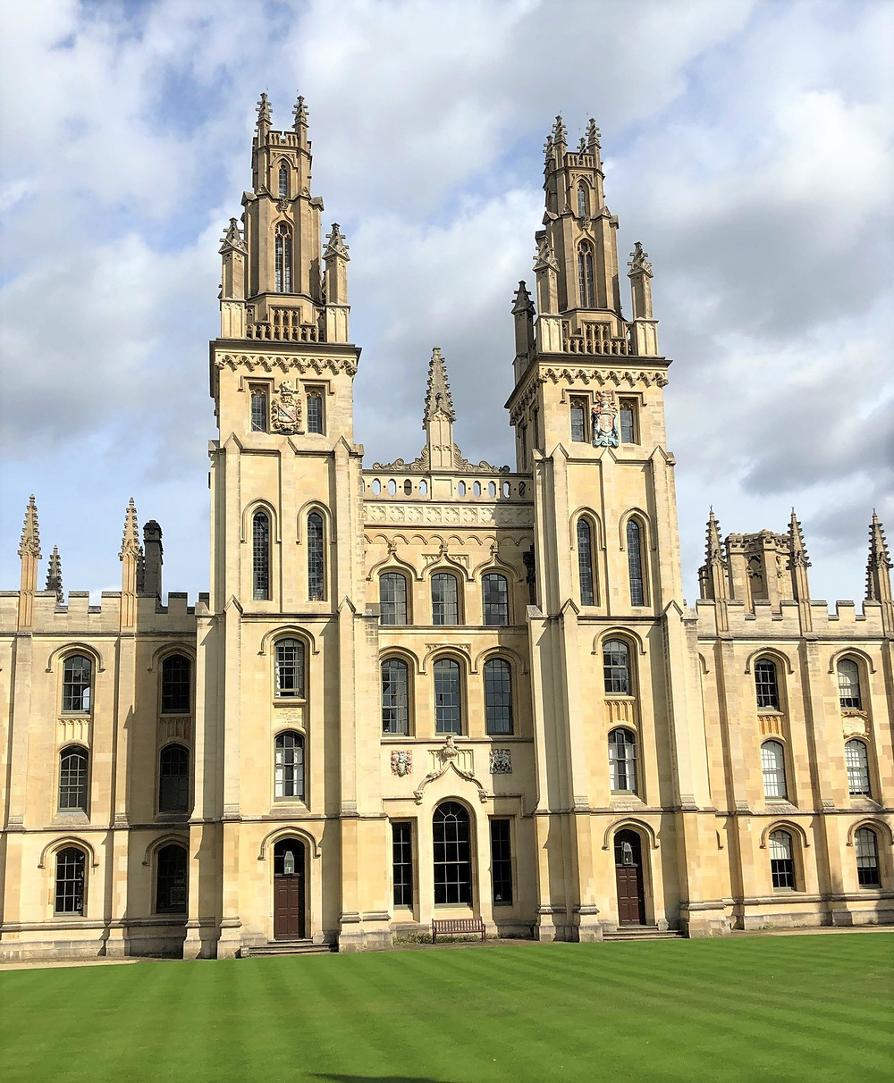 The four-story twin gate towers of Hawksmoor's Quadrangle at All Souls College in Oxford, England