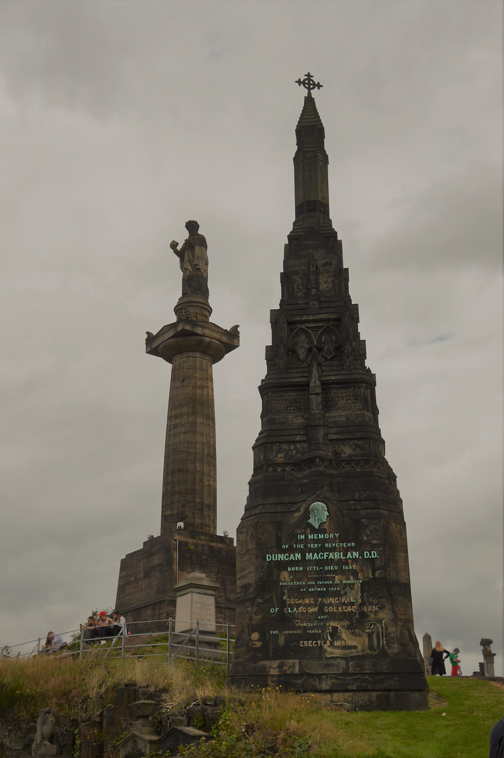 Two stone towers dominate the Necropolis. The John Knox monument and the Duncan Macfarlan memorial