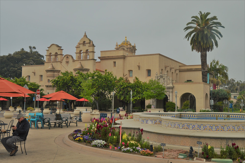 Spanish Colonial-revival style buildings in Balboa park in San Diego