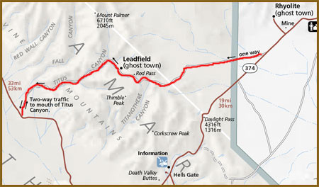 map of titus canyon death valley national park