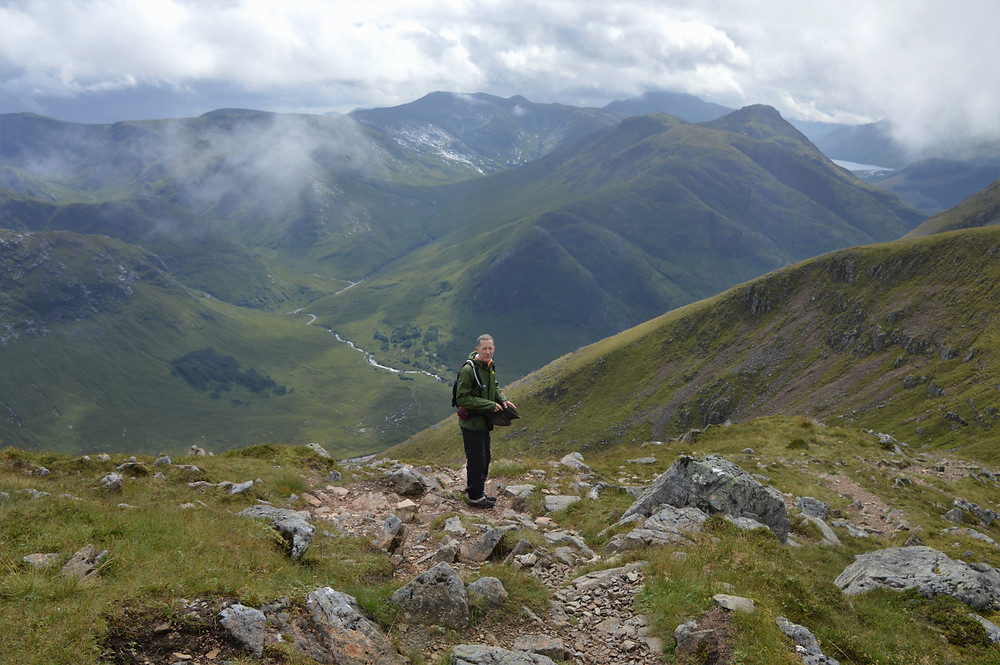 Great view of the valley floor and the Etive Munros from the trail descending from the summit of Stob Na Doire