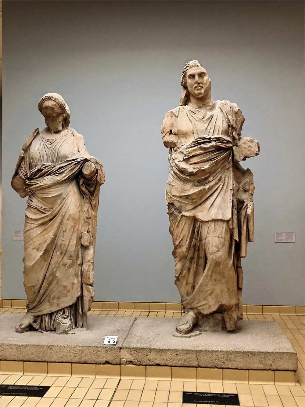 play in The British Museum are colossal statues (over 9 feet tall) of a man and a woman, from the Mausoleum at Halicarnassus