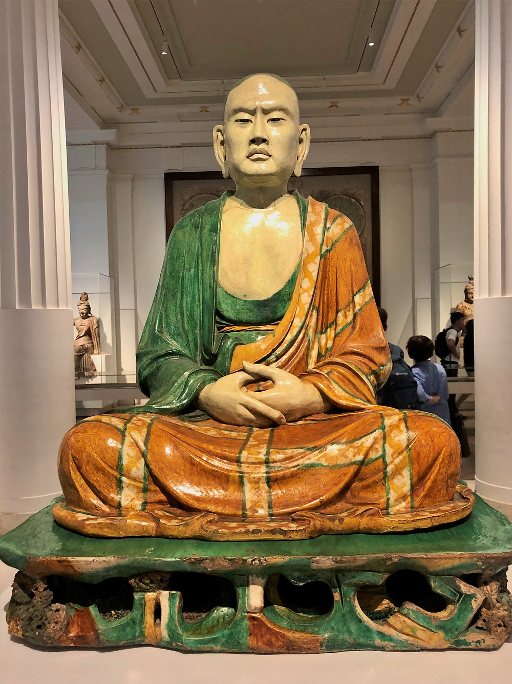 On display in The British Museum a life-sized glazed pottery sculpture of a luohan (historic disciples of Buddha) dating to the period of the Liao Dynasty (907–1125)