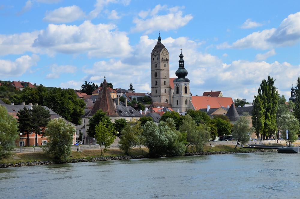 Village of Krems along the Danube River in Austria