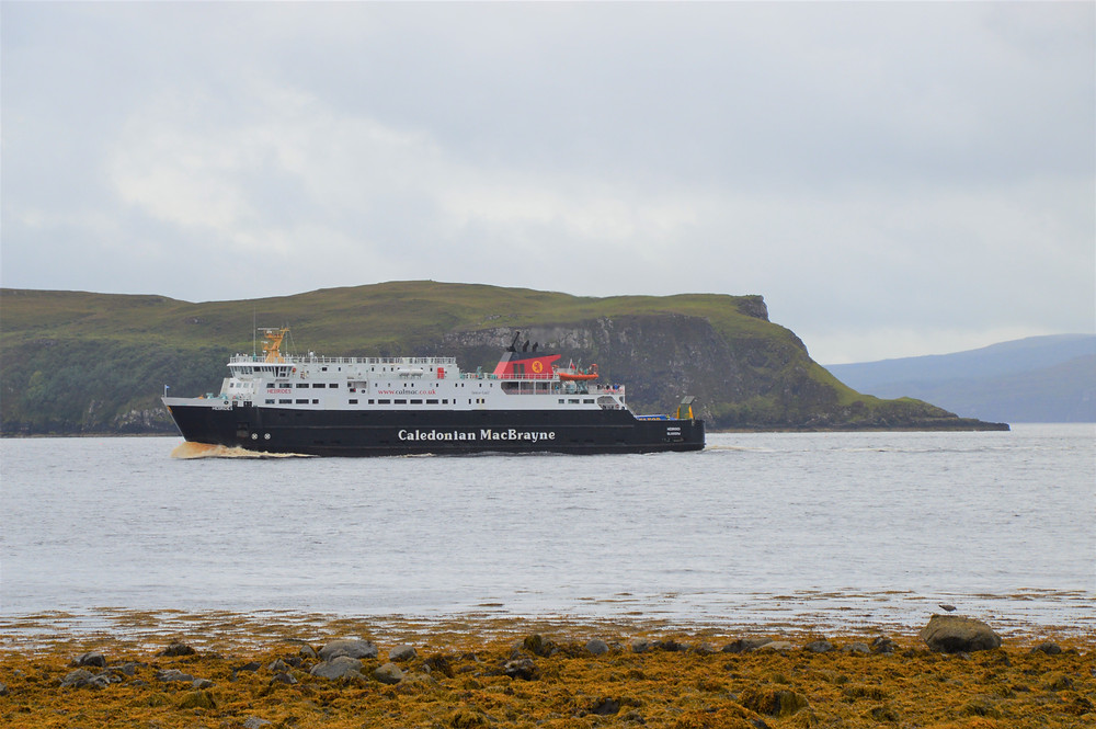 Calmac Ferry to Tarbert in the Outer Hebrides entering Uig harbor