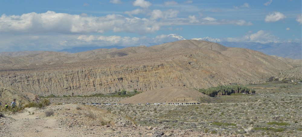 Fault scarp along the Mission Creek Branch of the San Andreas Fault. Squaw Hill in foreground