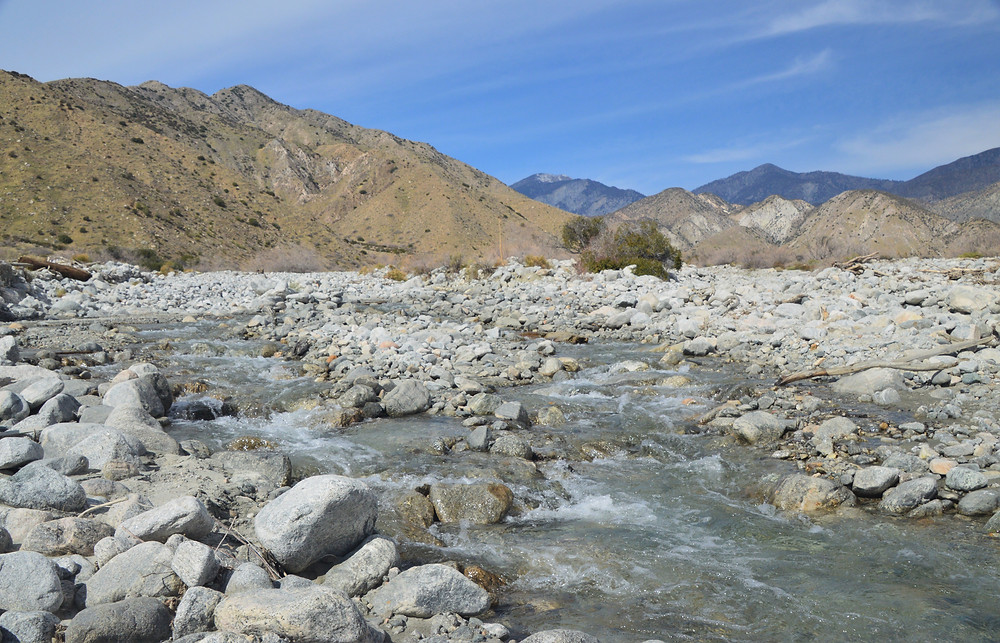 Crossing Whitewater River in the Whitewater Preserve of San Bernardino Mountains