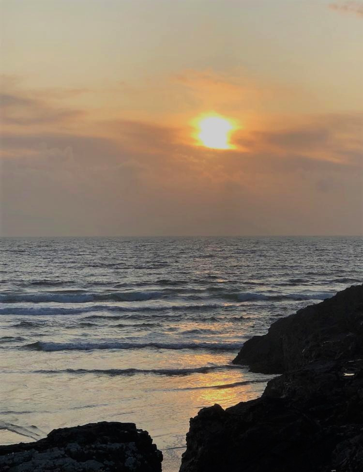 Sunset on beach in Port of Ness in the Isle of Lewis and Harris in the Outer Hebrides
