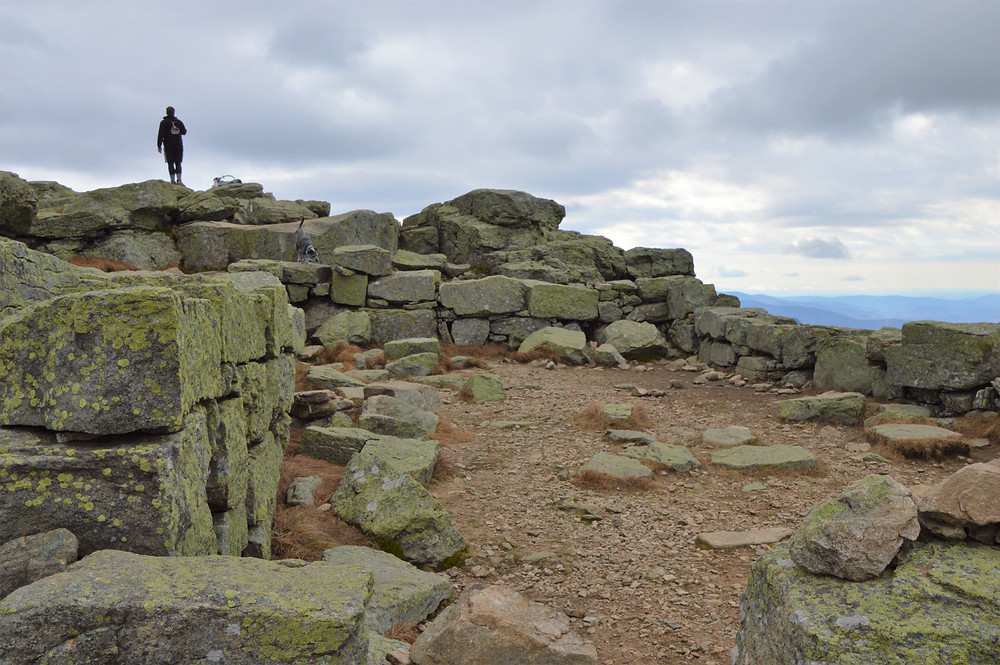 Old foundation on summit of Mt Lafayette in the Franconia Mountain Range