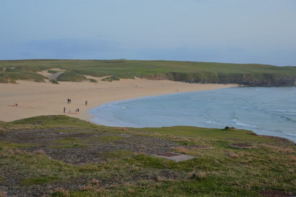 Isolated beach in Port of Ness in the Isle of Lewis and Harris in the Outer Hebrides