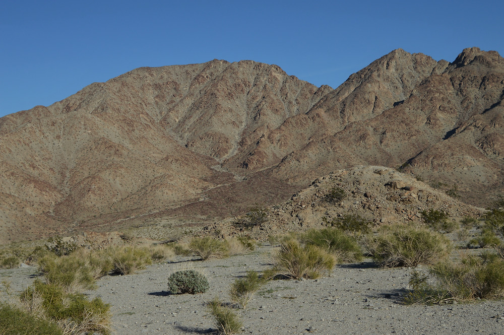 Beautiful Santa Rosa Mountains and foothills at the start of the Bear Creek Oasis Trail in La Quinta Cove