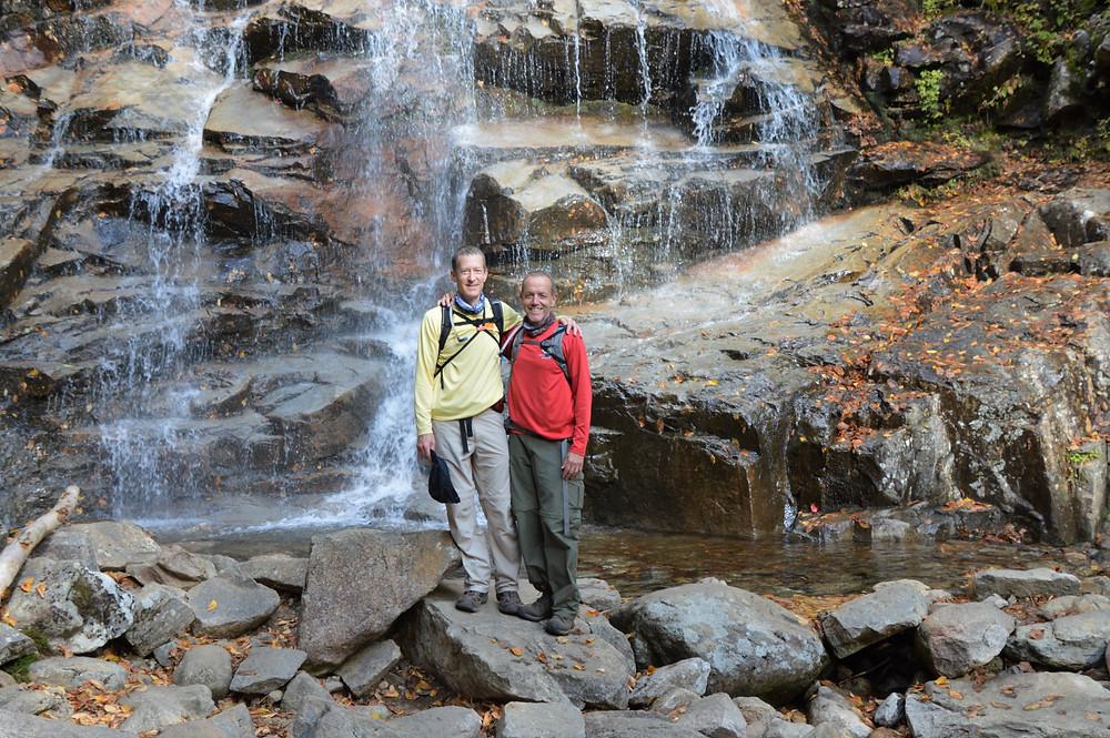 Cloudlands Falls along Falling Water Trail in Franconia Mountains. White Mountain waterfalls.