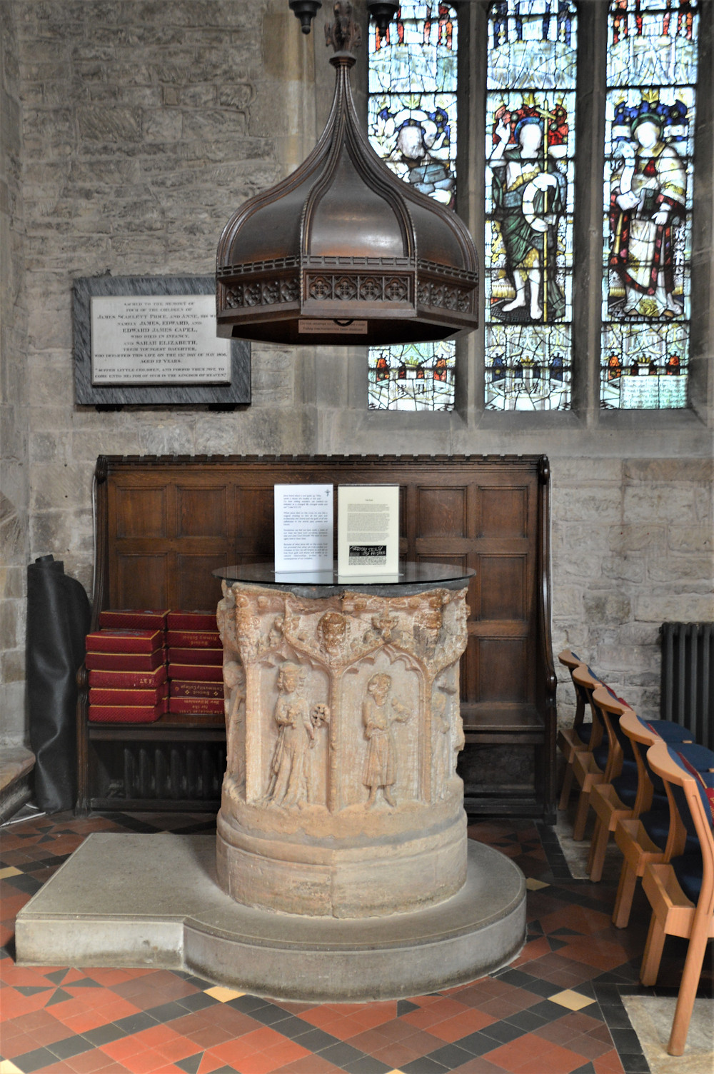 A Norman baptismal font in Burford Church dates to 12th century. Burford of the Cotswolds