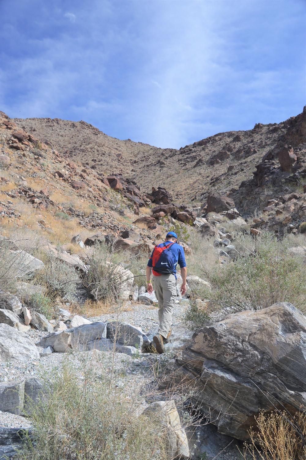 Hiking through wash on way to Pinto Mountain summit in Joshua Tree National Park