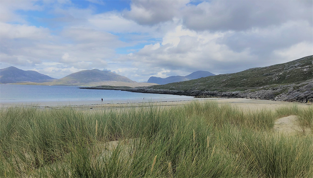 Walking the sand dunes on Luskentyre Beach in Lewis and Harris in the Outer Hebrides