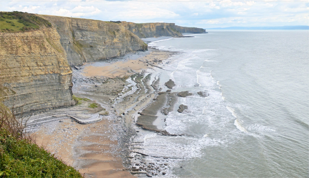 A wave-cut platform, shore platform, coastal bench, or wave-cut cliff along Glamorgan Heritage Coastal Trail