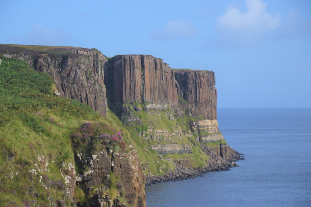 Kilt Rock resembles a Scottish kilt with vertical basalt columns forming the pleats. These cliffs are almost 300 feet tall at the highest point