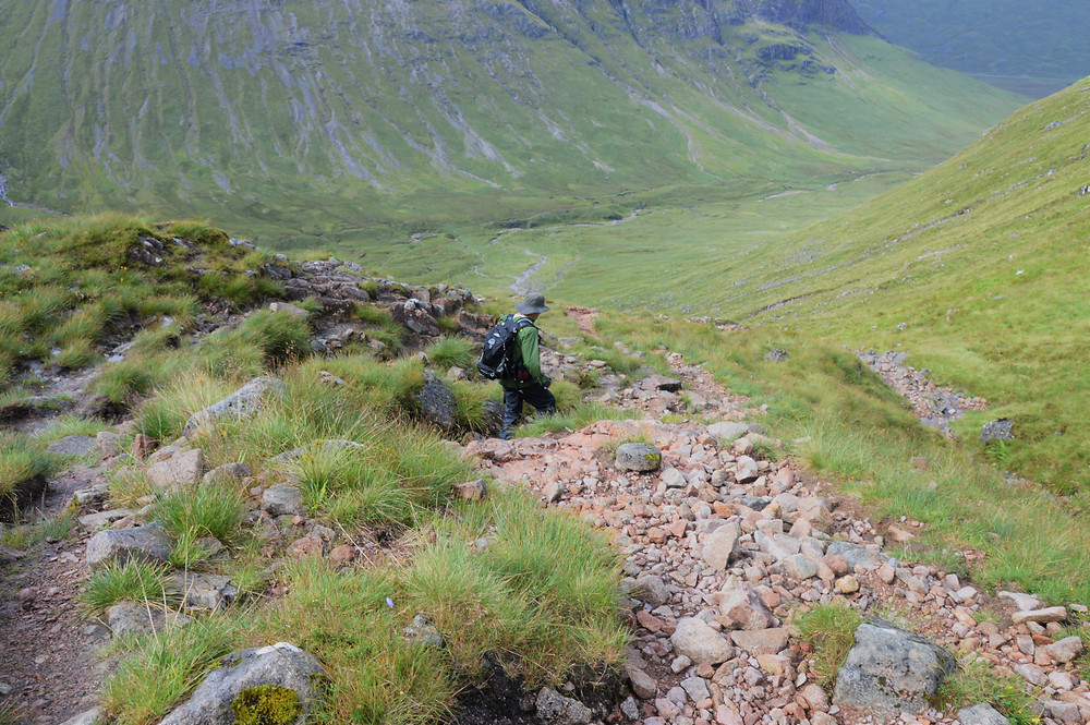 Following the trail to Lairig Gartain and Glen Etive from the summit of Stob Na Doire