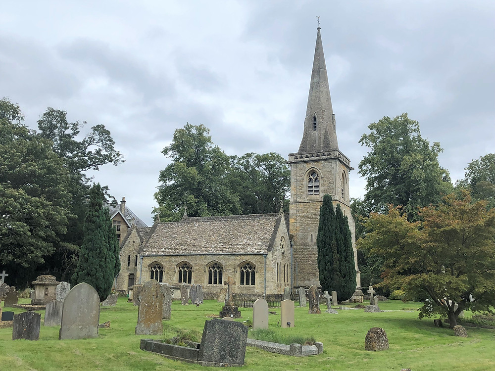 Cemetery on the ground of Church of St. Mary in Lower Slaughter of the Cotswolds