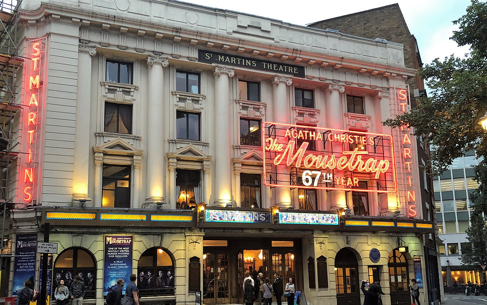 St Martins Theatre marquee in London for 'The Mousetrap' murder mystery play by Agatha Christie