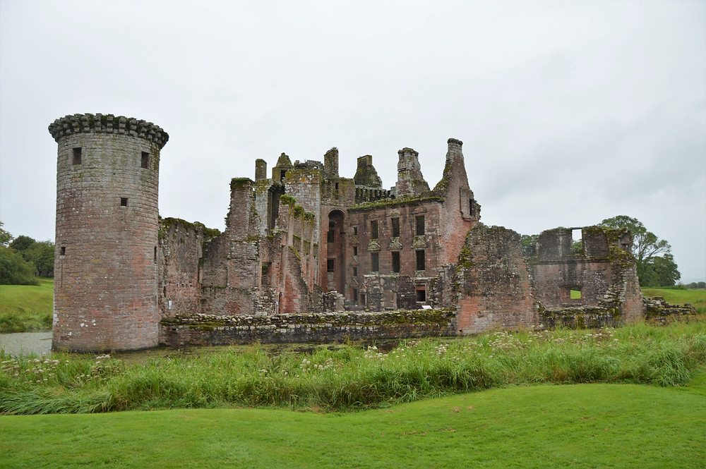 Southeast tower and curtain wall of Caerlaverock Castle destroyed in 1640