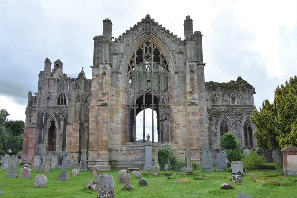 East window of Melrose Abbey in the Border Region of Southern Scotland. Border abbey.