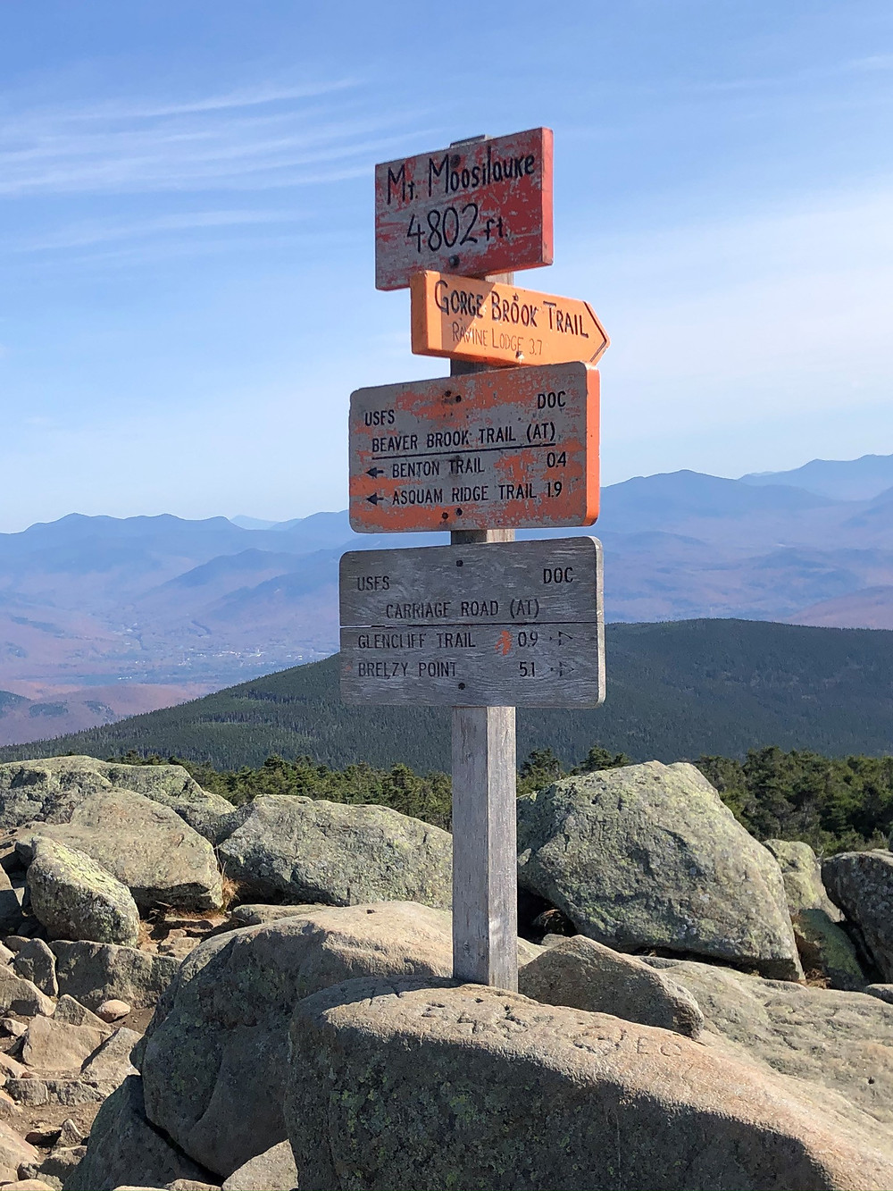 Mt Moosilauke summit sign in NH. NH 4000 footer