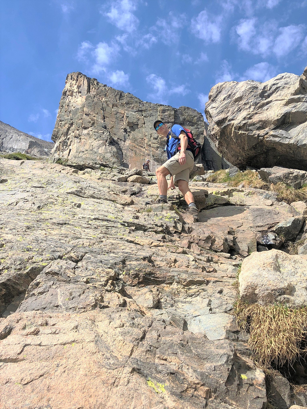 Rocky scramble on section of trail leading to Chasm Lake in Rocky Mountain National Park