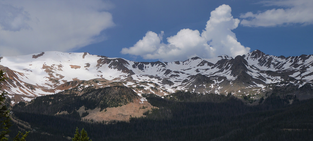 Rocky Mountain National Park elevations ranging from 7,860 feet in the grassy valleys to 14,259 feet at the top of Longs Peak