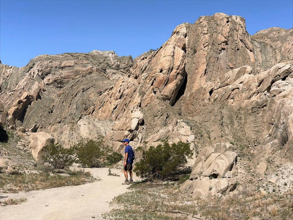 Syncline fold in sedimentary rocks along Indio Hills Badland Loop Trail
