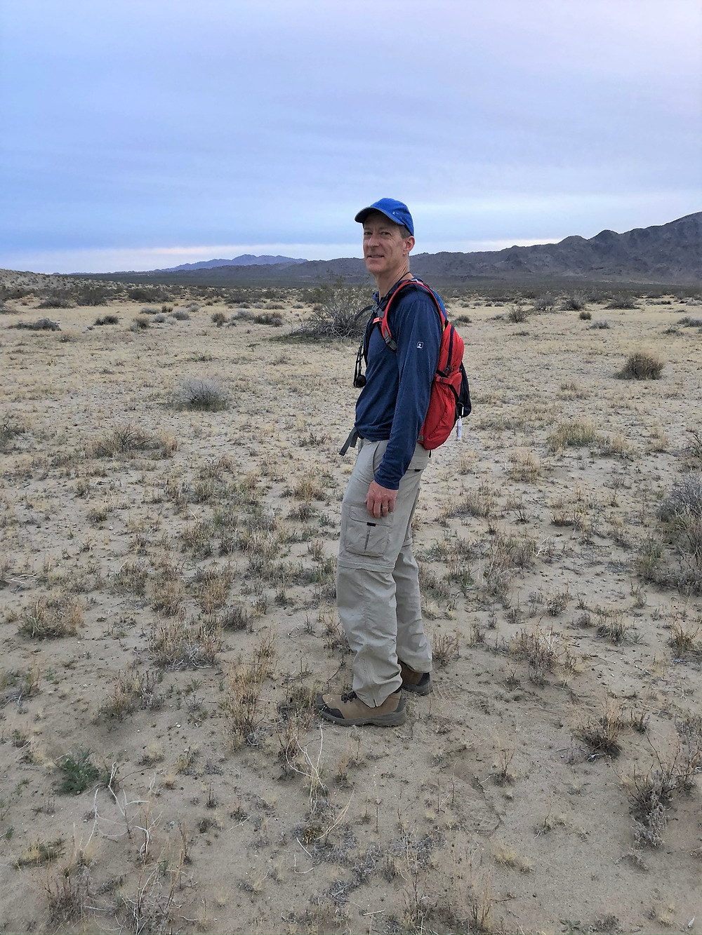 Hiking Across Turkey Flats after summitting Pinto Mountains in Joshua Tree National Park