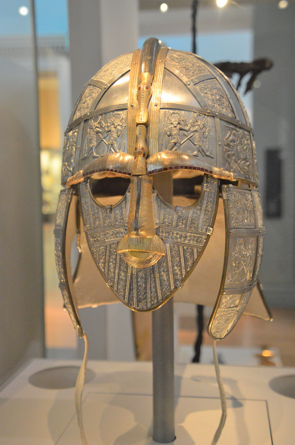 On display in The British Museum a replica of Sutton Hoo helmet from around 600 AD