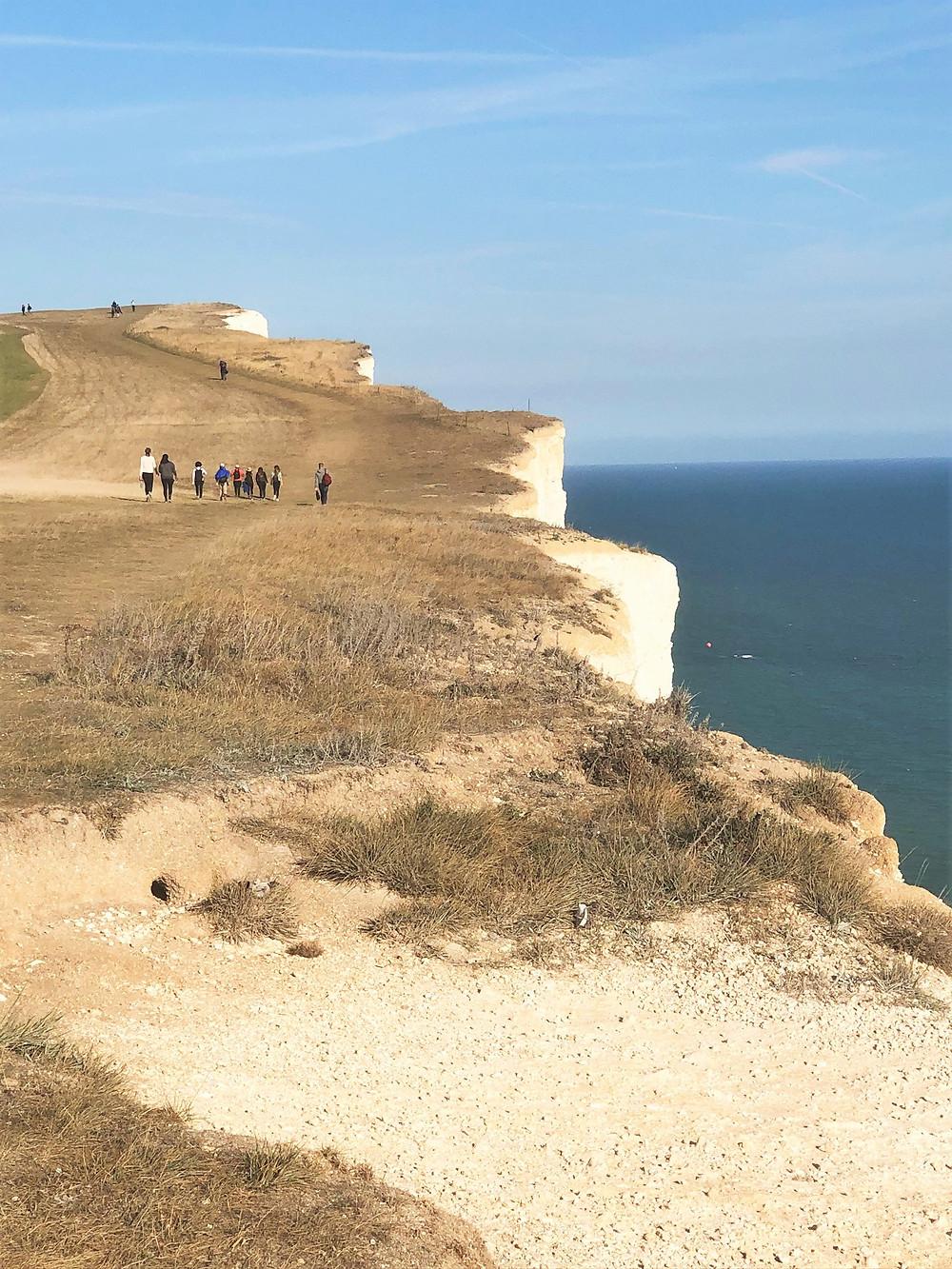 Beachy Head cliff walk along the England coast