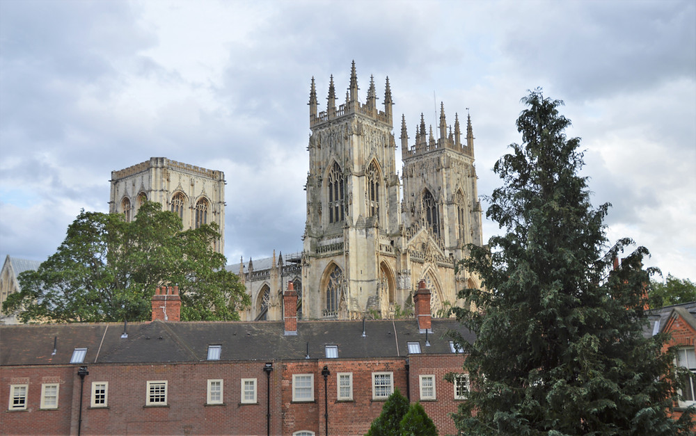 Early morning view of York Minster from the City Walls. York England