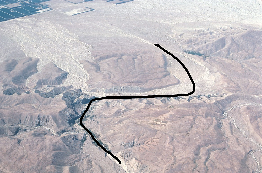 Pushawalla Canyon displacement occurring over millions of years .