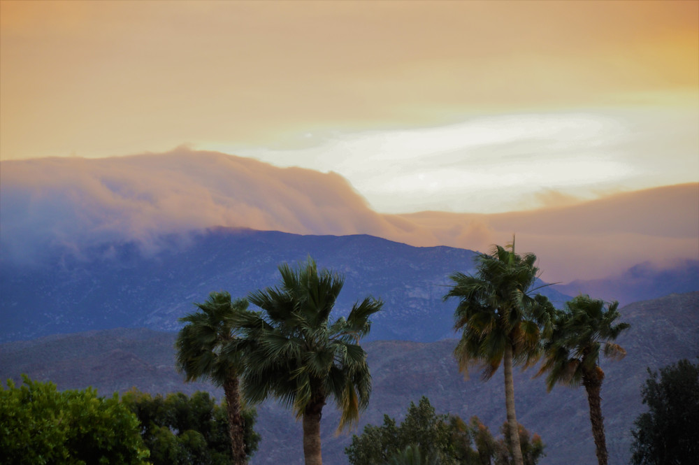 Wind storm clouds over San Jacinto Mountains