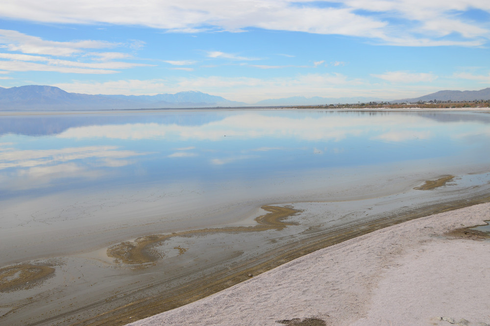 Mirror like surface of Salton Sea