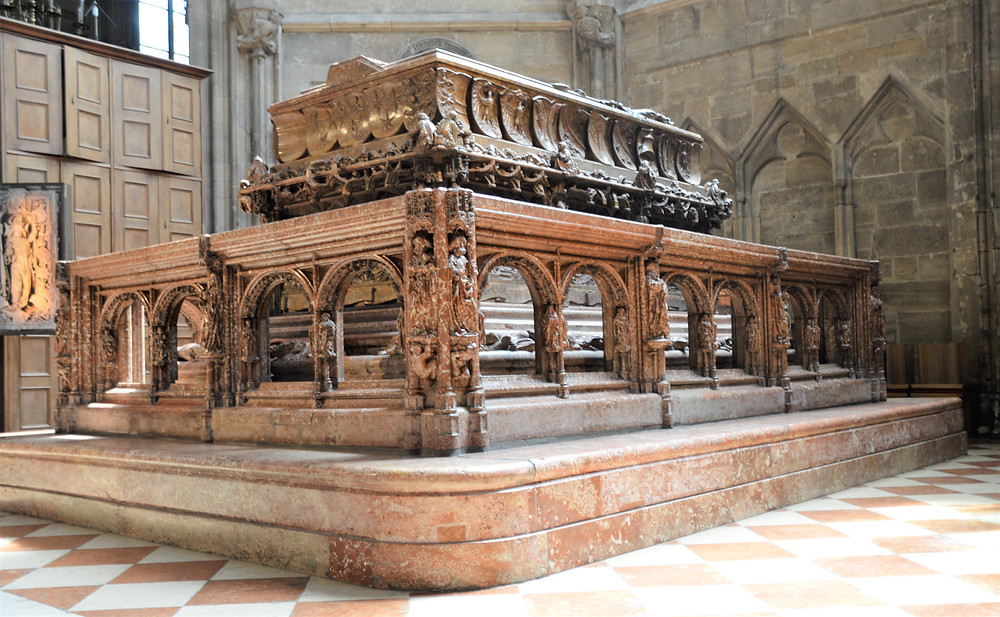 The tomb of Frederick III, Holy Roman Emperor, who was the first emperor of the House of Hapsburgs from 1452 until 1493 is located in St Stephen's Cathedral in Vienna