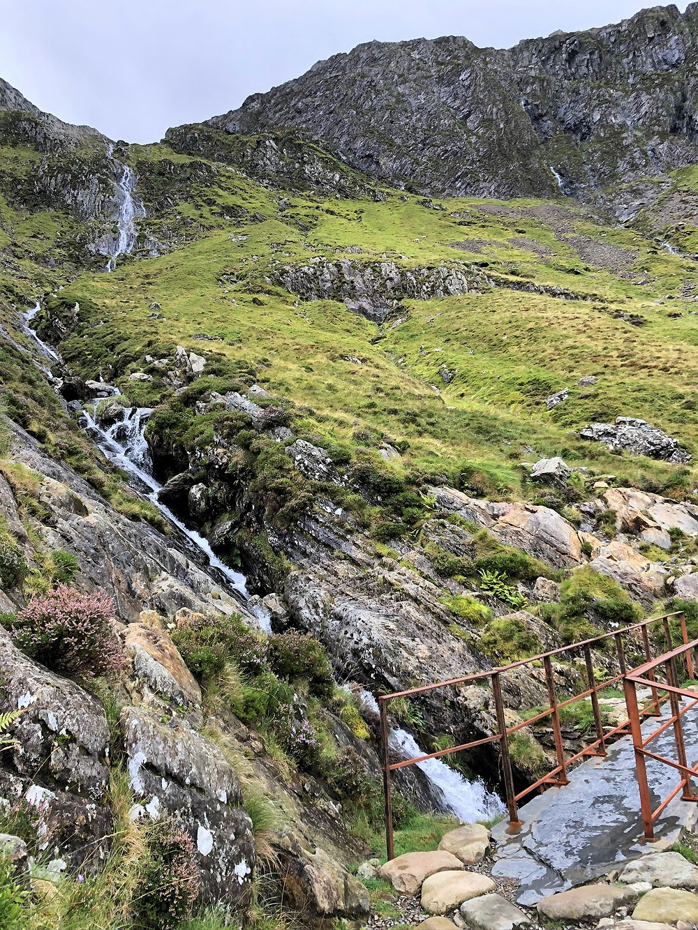 Streams that poured over the ridge on the trail leading to Devil's Kitchen in Snowdonia